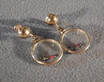 Vintage 12 K Yellow Gold Filled Glass Encased Fly Fishing Lures Dangle Screw Back Earrings  **RL