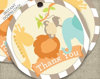 INSTANT DOWNLOAD - Jungle Animals Favor Tags - Safari Party Supplies - Printable Favor Tags