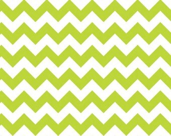 Lime Green Chevron Small Riley Blake 1/2 Yard Fabric Cotton By The Yard Lime Green White Stripe
