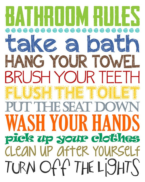 Bathroom rules boys bathroom decor boys by littlelifedesigns for Bathroom decor rules
