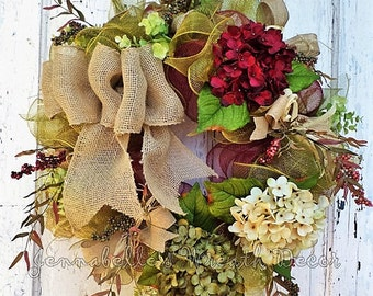 Fall Wreath, Summer, All Season, Burgundy and Olive Deco Mesh, Hydrangeas, Burlap Bows, Door Decor
