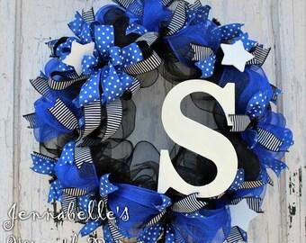 Thin Blue Line Mesh Wreath, ACU, Law Enforcement, Police Life, Police Appreciation, Black, Royal Blue