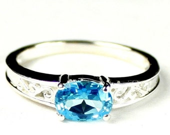 Summer Sale, 30% Off, KSR362, Swiss Blue Topaz, 925 Sterling Silver Ring