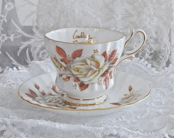 "Queen Anne Vintage Tea Cup and Saucer ""Autumn Rose"" Wedding Anniversary Bone China Gold Trim Made in England"