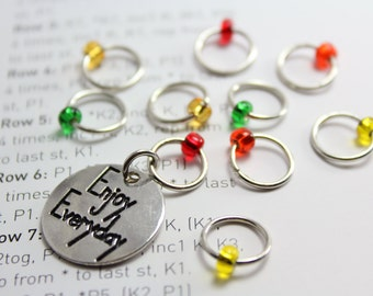 Enjoy knitting stitch markers - snag free stitch markers - ring stitch markers - gifts for knitters - knitting tools and supplies
