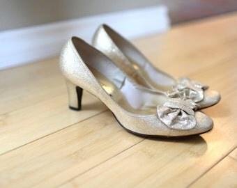 vintage glitter gold bow heels womens 7