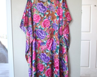 vintage pink floral tunic caftan dress