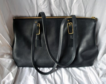 Vintage Coach Black Leather Tote