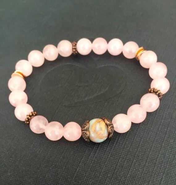 Rose Quartz Wrist Mala Beads, African Opal, Heart Chakra, Anahata Chakra , Self Love, Compassion, Clarity, Stacking Bracelet , Love Stones