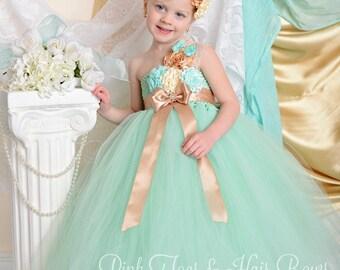 Flower girl dress-Mint Flower Girl Dress-Mint and Gold Flower girl dress- flower girl dress-Mint and Gold flower girl dress
