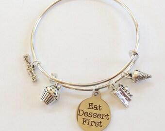 Eat Dessert First......Bangle Charm Bracelet