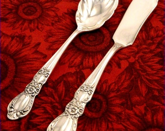2 Piece Master Butter Knife & Sugar Spoon Set 1847 Rogers HERITAGE Vintage 1953 SilverPlate Flatware