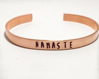 Namaste bracelet Hand stamped jewelry Hand stamped Cuff bracelet Copper Yoga jewelry Yogi jewelry Namaste jewelry Yogi bracelet Om Jewelry