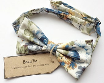 Mens blue bow tie, floral mens bow tie, yellow bow tie, cotton bow tie