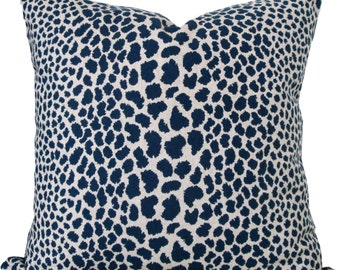 Indigo Blue Cheetah Designer Decorative Pillow Cover-Animal Print-Accent Pillow-Pillow Cushion-Sofa Pillow-Double Sided