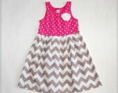 Gray & pink chevron dress**Easter dress**Size 3t, 4t ready to ship**Tank top dress**Grey chevron dress**stripes, polka dots**spring dress