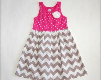 Gray & pink chevron dress**Dress on sale**Size 3t, 4t ready to ship**Tank top dress**Grey chevron dress**stripes, polka dots**beach dress
