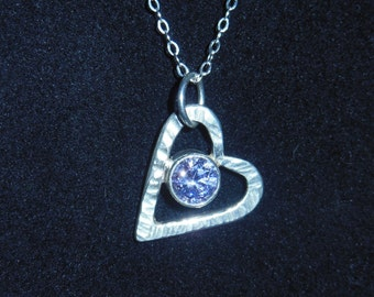 Hannah's Birth Stone Purple  Heart with Faceted Gem Stone