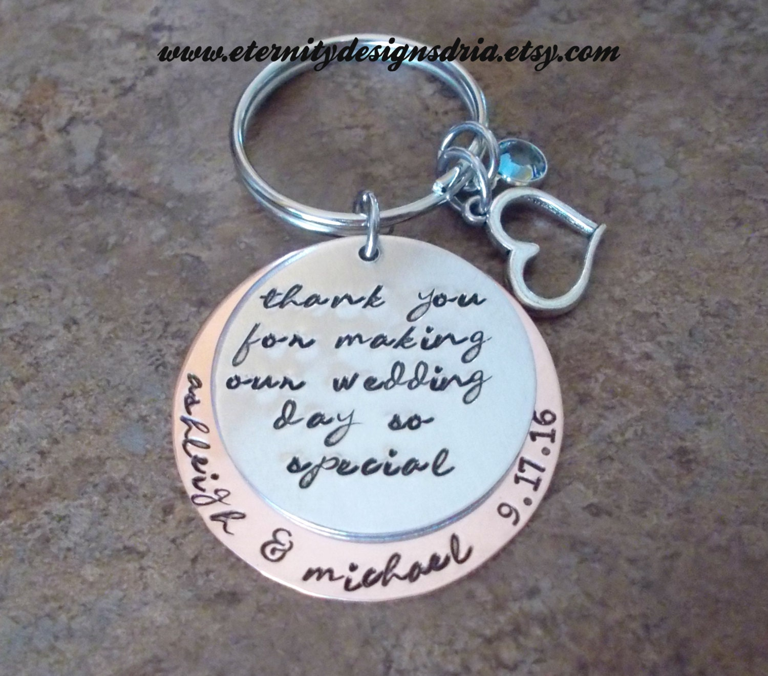 Keychain For Wedding Gift : Personalized Wedding Gift Keychain Thank You For Making Our