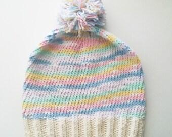 Knit Slouchy Beanie: Pastel Sky