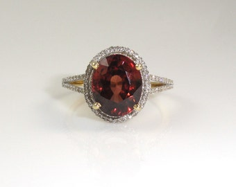 Natural Red Zircon 5.48 Carat Ring with Diamond Halo in 14K Rose Gold Sale by Best in Gems (4564)