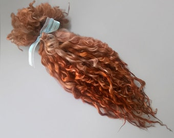 Light Reddish Brown Teeswater Locks - Extra long 12 inches - doll hair reroot blythe waldorf tailspinning felting spinning
