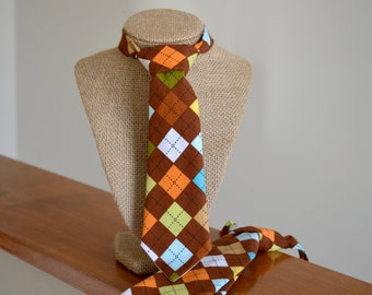 12 to 24 months, Argyle Neck Tie for Boys, Brown, Green, Orange, Ready to Ship