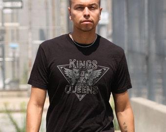 Kings of Queens Crest type tee, fantasy, goth, urban, angels, wings, super hero, black, prayer, profile, dark