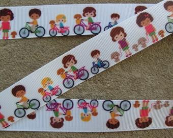 "3 yards Bike Ribbon 7/8"" bicycle grosgrain printed hair bow ribbon kids bike ribbon"