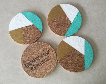 "Teal Gold White Abstract 4"" Round Cork Coasters"