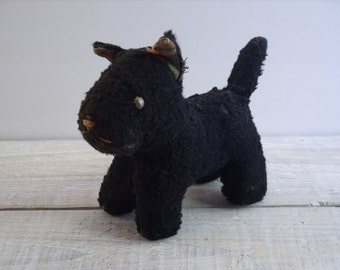 Vintage Scotty Dog Stuffed Toy ~ Primitive Terrier Puppy ~ Antique Plush Black Animal ~ B8