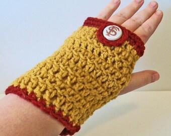 Trendy Garnet and Gold Seminoles Hand Crocheted Fingerless Gloves 3 Sizes Available