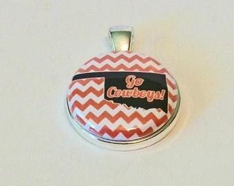 Fun Orange and White Chevron State Silhouette Oklahoma Inspired Go Cowboys Round Silver Pendant