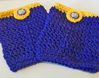 Trendy Purple and Gold Tigers Inspired Hand Crocheted Boot Cuffs Cute Accessory 5 Sizes Available