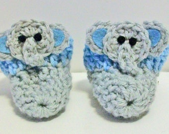 Adorable Light Blue and Gray Elephant Hand Crocheted Baby Bootie Shoes Great Photo Prop Matching Hat & Bib Also Available