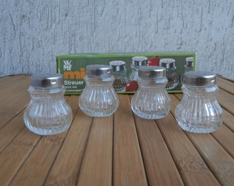 Vintage Set of 4 WMF Mini Salt & Pepper Shakers, Made in Germany, Signed, 70's