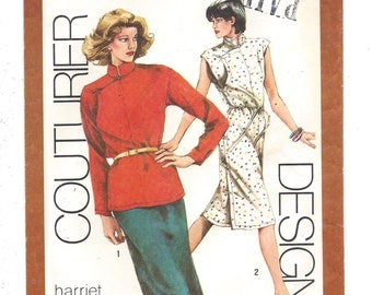 1980s Simplcity #9519 Misses' Couturier Dress or Top and Skirt, Harriet Selwyn's Fragments, UNCUT FF Sewing Pattern, Size 12 Bust 34