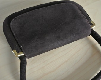 1960s Miss Lewis Handbag Mod Retro Brown Velour Cocktail Purse Clutch