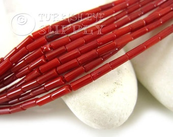 Red Coral Tube Beads, Coral Heishi Bead Strands, 2,50x6mm One 1 Full Strand, Loose Beads