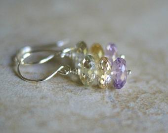 Amethyst earrings, citrine earrings, green amethyst earrings, amethyst jewelry gift for her, Argentium silver ear wires, new for Summer