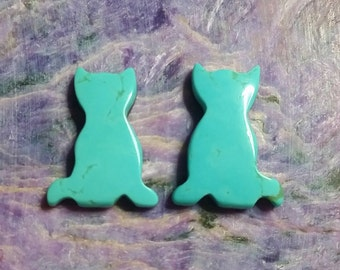 Blue Turquoise Cat Cabochon Pair/backed/ Turquoise Mountain