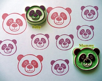 Panda Rubber Stamp, Cute Panda Hand carved Rubber Stamp, Woodland Animal Stamp. Birthday Crafts