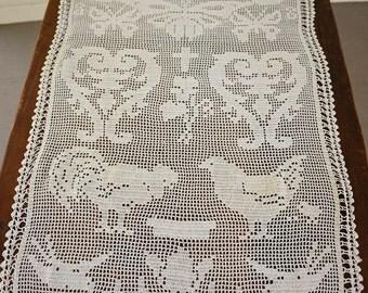Crochet Lace Curtain Panel Old Lace Vintage Lace Vintage Easter Decor