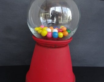 Red Rustic Chalkboard Paint Terra Cotta Pot Gumball Candy Holder *Birthday Party* *Holiday*
