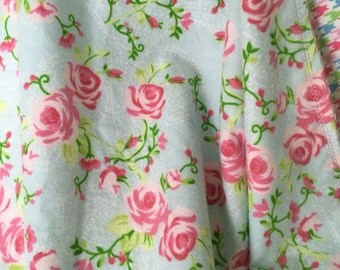 Flannel Receiving Blanket ~ Double Layer Flannel Blanket ~ Baby Girl Swaddle Blanket ~ Shabby Chic Nursery ~ Roses ~ Pink ~ Blue