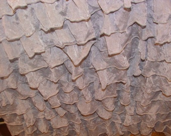 """Gray cascading 1""""ruffle fabric. (remnant 26"""")"""