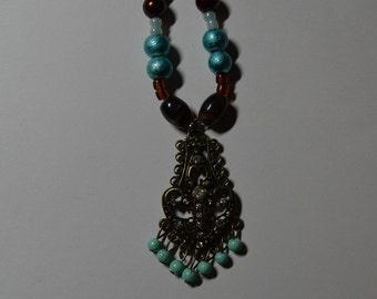 Open Heart Pendant Bead Necklace
