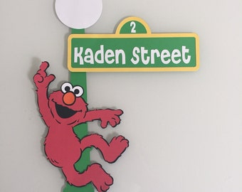 Elmo Lamppost Street Sign