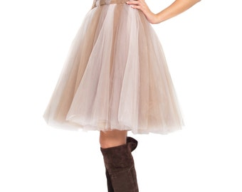 3 Tone Soft Tulle Skirt - Braided Waist Line