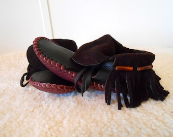 Leather Moccasins, Inca Style Mocs, Handmade Hand Sewn Elk Hide Moccasins, Natural Buffalo Soles, Fringe, Shoes, Earthing, Custom Made